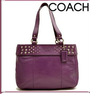 Beautiful COACH Purple Leather Studded Zip Tote